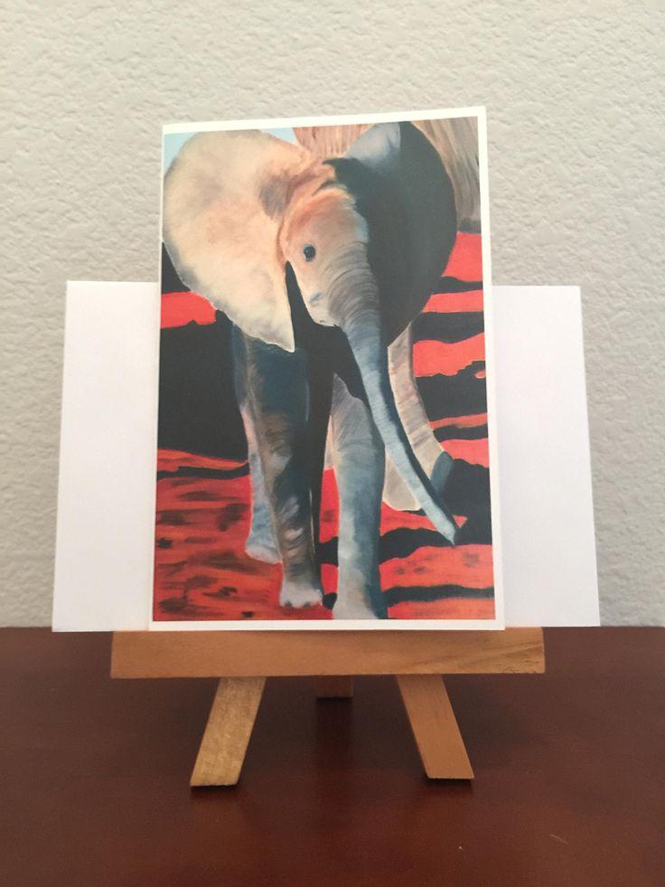 Greeting Card, Personalized Greeting Card, Happy Birthday Card, Original Artwork, Oil Painting Art, Framed Art, Custom Card, Custom Order, Elephant, Animal Card