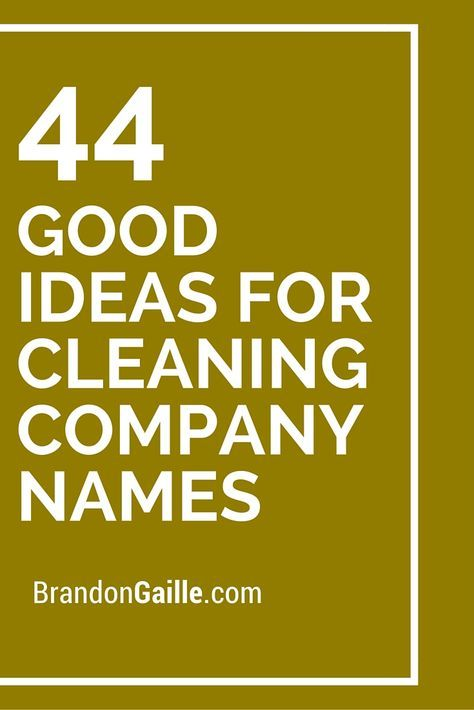 44 Good Ideas For Cleaning Company Names