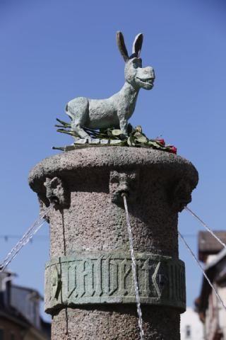 Marvelous Der Esel aus den Shrek Filmen schm ckt seit Sonntag den Eselsbrunnen