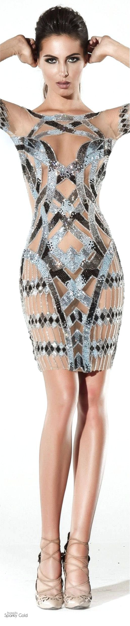 Charbel Zoé Spring 2016 Couture- similarly, this could be recreated by adding a mesh material in between the main pattern of the African fabric to fill in the gaps. (After cutting out the main pattern from the body of the fabric)