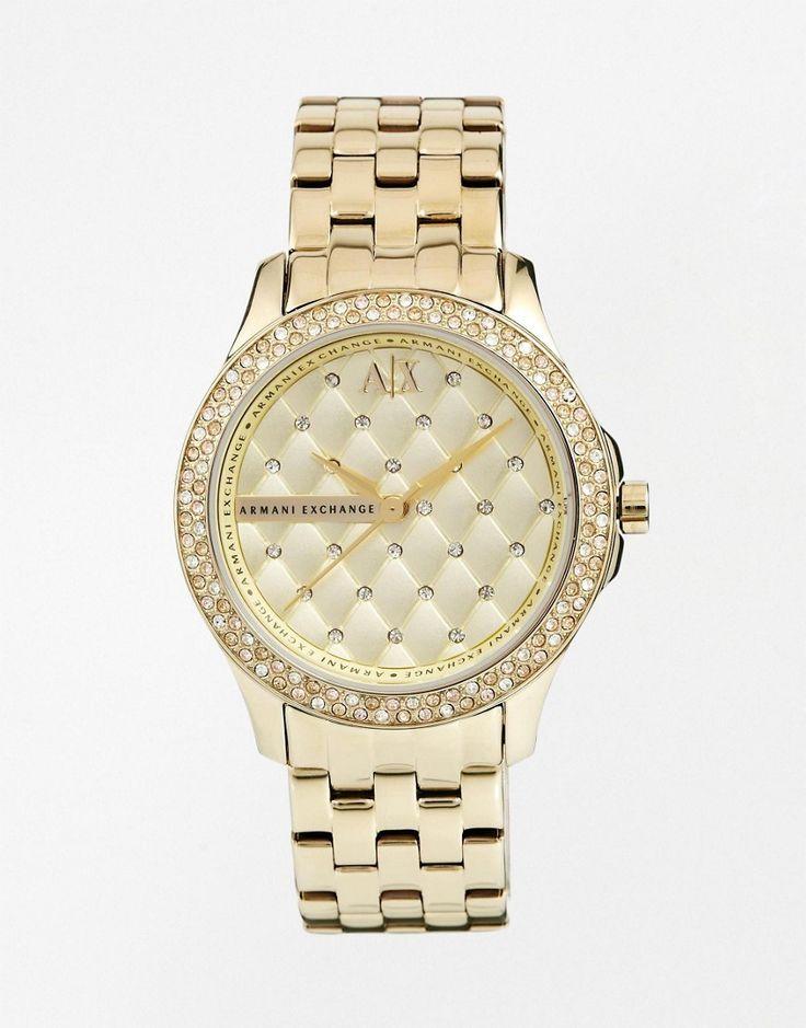 Armani Exchange Lady Hampton Gold Diamante Watch AX5216