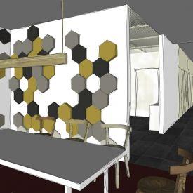 Projekt. Panele Hexa w biurze. Świetna kreska. Projekt i kreska Zuzanna Róg