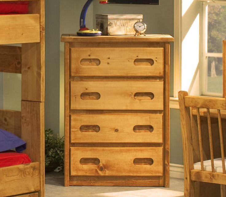 4 Drawer Bedroom Chest. Storage bed in action. Captains Bedroom Set in Amber Wash by Rustic Classics on www.GoWFB.ca. Four under-bed storage drawers provide room for clothes, toys and other items. Can include platform twin bed or full bed, dresser, mirror, nightstand, chest, desk & hutch, bookcase and a toybox. #furniture #canada #wholesale #kidsfurniture #bedroomsuite #storagebed