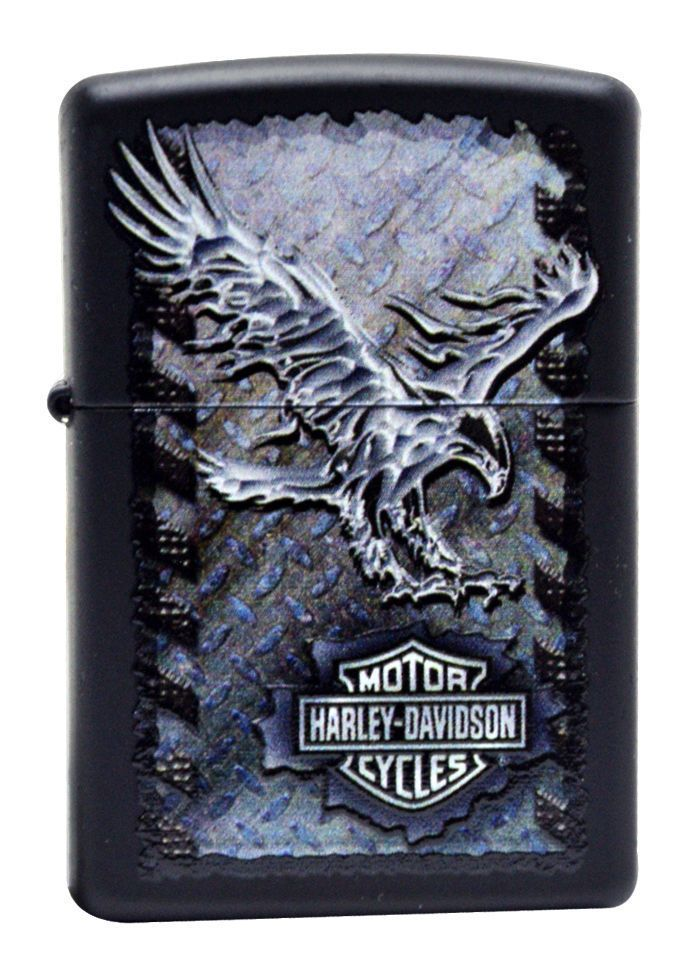 Zippo item # 28485. Zippo Harley Davidson Lighter with Iron Eagle. Name: Harley Davidson Iron Eagle. Comes In Unique Harley Davidson Box (see photo 2). Finish: Black Matte with 3D metal looking logo. | eBay!