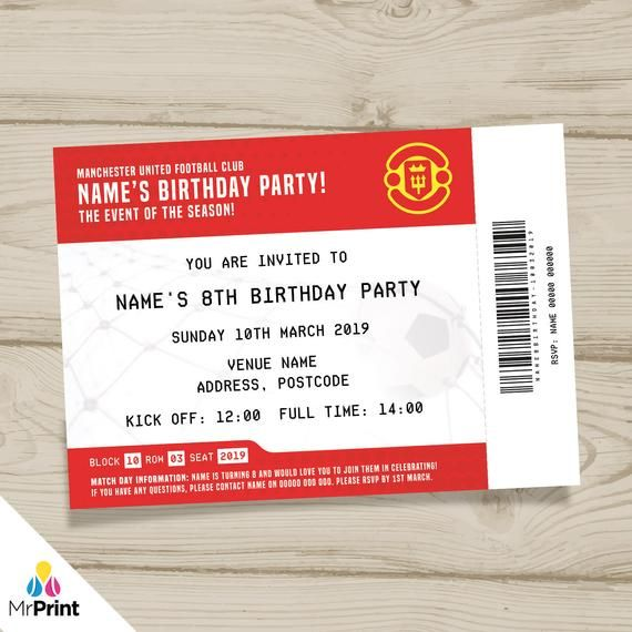 Utd Halloween Block Party 2020 Personalised Manchester United style football ticket invitations +