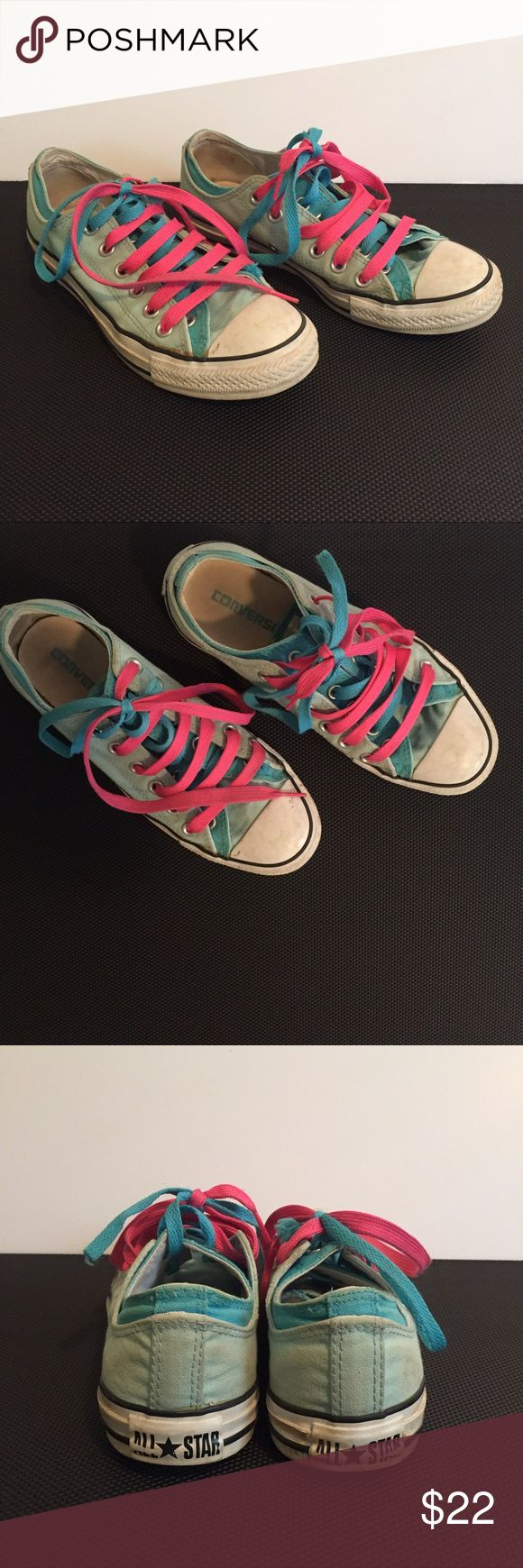 Converse Double Tongue Shoes Turquoise Light Blue Size 8. Show some signs of dirt and light wear but still in nice shape. Two shades of blue with both blue and pink laces. Converse Shoes Sneakers