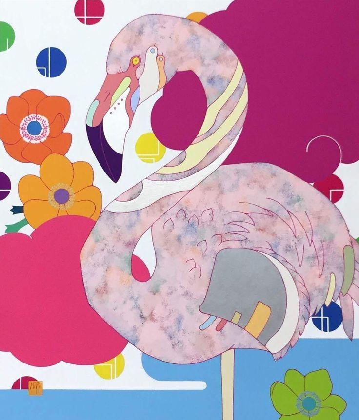 安岡亜蘭 flamingo F10号 アクリル、雲肌和紙
