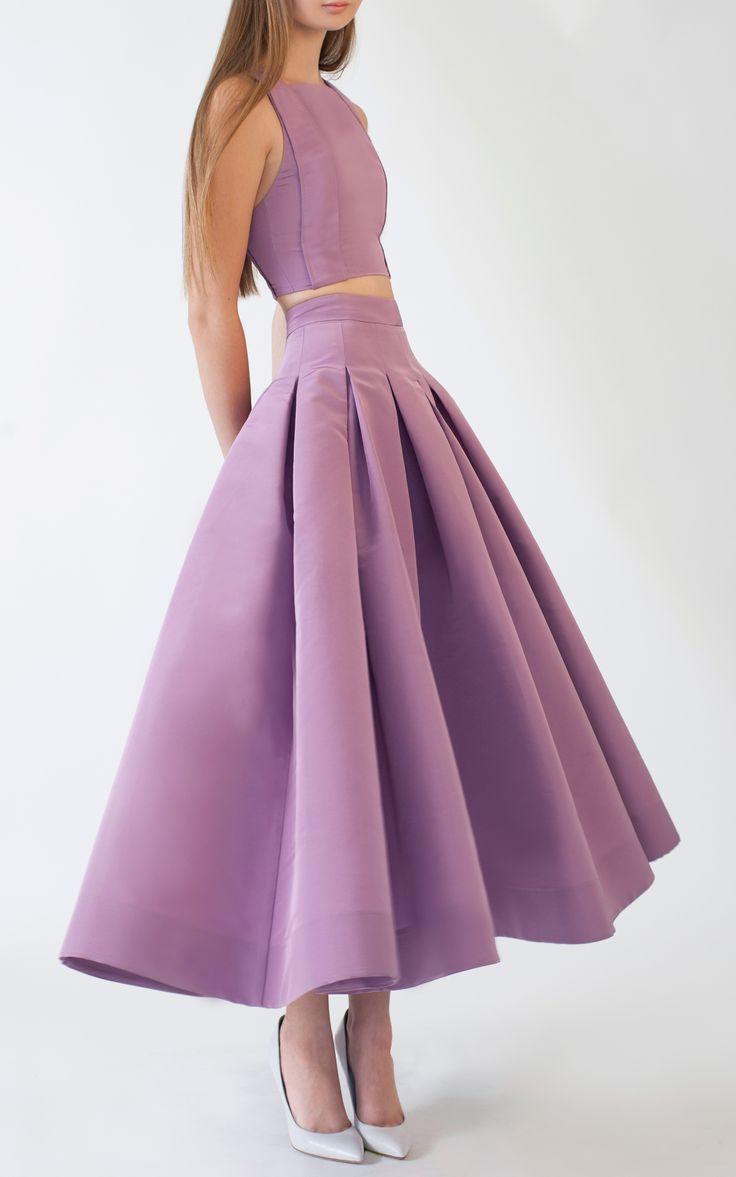 Katie Ermilio | Purple Box Pleat Swing Skirt