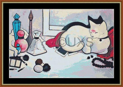Modern counted cross stitch kit Kitty Kisses – Unconventional X Stitch