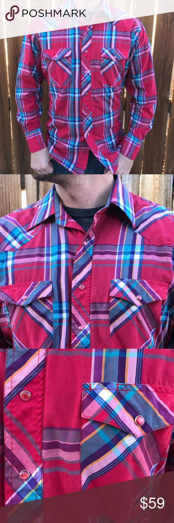 Wrangler Cowboy Cut Flannel Preowned Wrangler Flannel. Awesome red pearl snap buttons Wrangler Shirts Casual Button Down Shirts