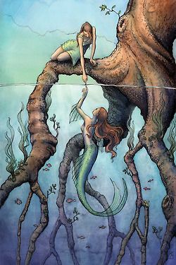 Illustration art true dream draw red hair fantasy reality mermaid
