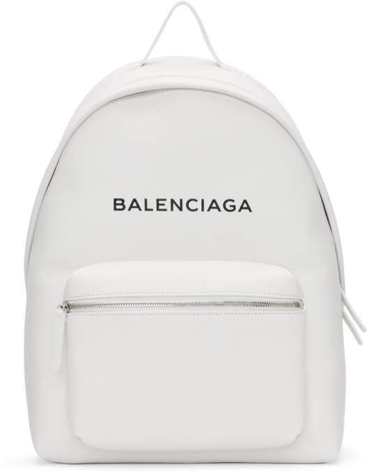 2dc7ede783b Balenciaga White Logo Everyday Backpack | Bags