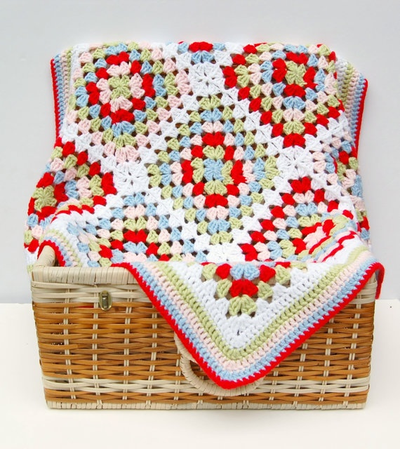 Crochet Baby Blanket Granny Square Crochet Baby by HopscotchLane