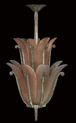 Art Deco Silvered Bronze and Frosted Glass Scrolled Fern Leaf Fronds Chandelier (c.1930)