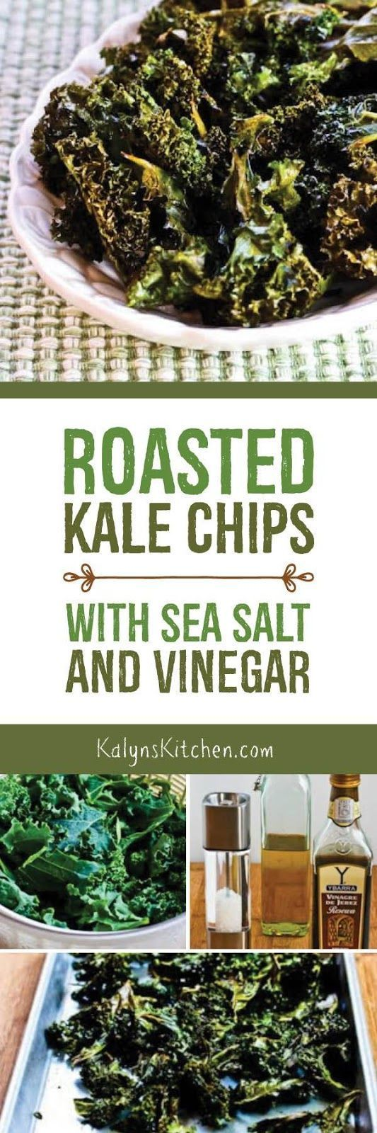 These Roasted Kale Chips with Sea Salt and Vinegar are a delicious way to eat your greens as a snack; I make them in the toaster oven when it's too hot to heat up the kitchen! These tasty kale chips are vegan, low-carb, gluten-free, South Beach Diet friendly, Paleo, and Whole 30. [found on http://KalynsKitchen.com]