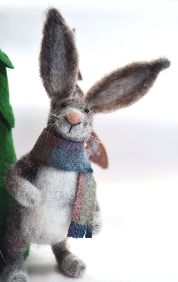 Needle Felted Scottish Hare miniature animal Home by madamecraig