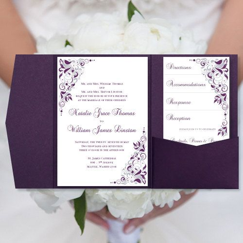 "DIY Pocketfold Wedding Invitations ""Gianna"" Eggplant Purple & Silver Printable Word Templates"