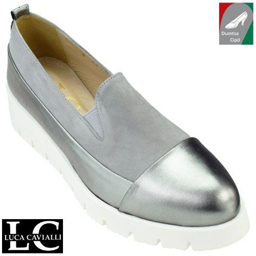 Luca Cavialli női bőr cipő 4211 szürke/lakk