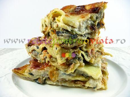 Reteta de lasagna cu legume, ciuperci proaspete si somon - o reteta de lasagna deosebit de gustoasa si aspectuoasa. Merita incercata!