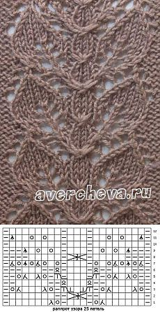 Узор 674 « полоска из листьев» | каталог вязаных спицами узоров