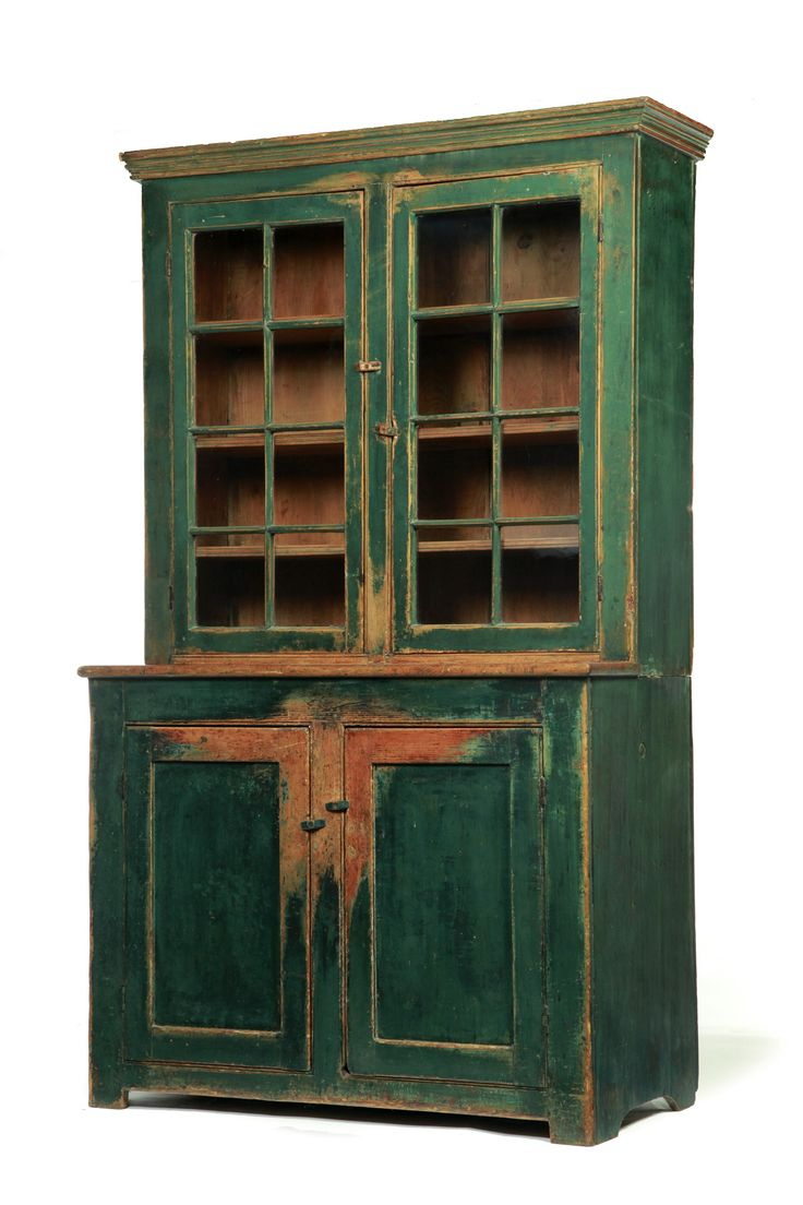 AMERICAN PAINTED STEPBACK CUPBOARD. First half-19th century, pine. Two-piece - 466 Best Primitive Cupboards Images On Pinterest Pine, DIY And