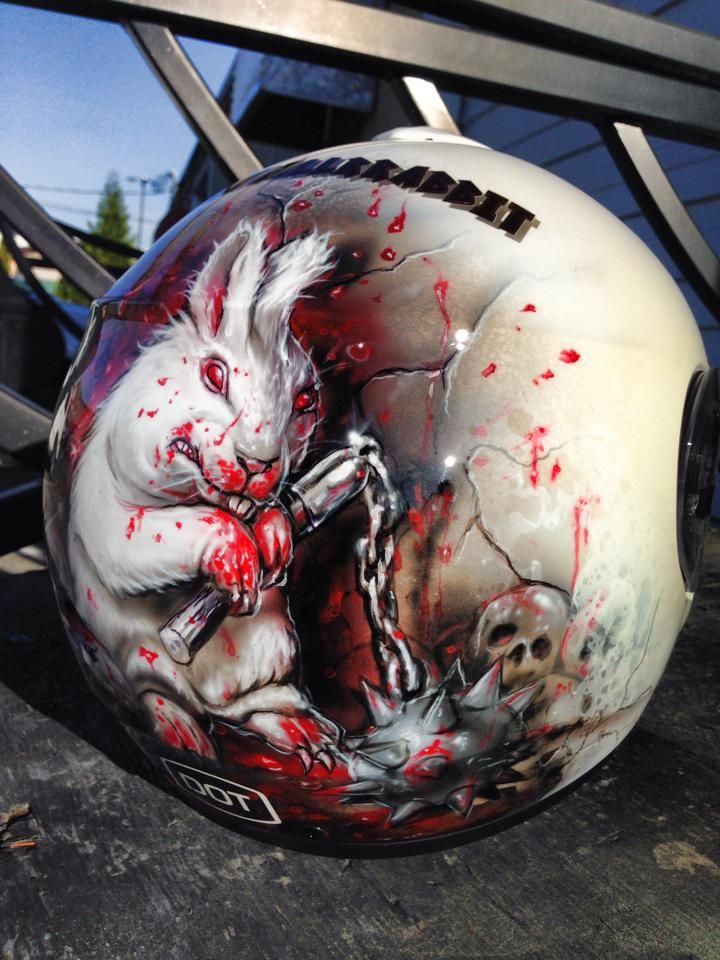 Airbrushed Evil Bunny Helmet - Painted by Mike Lavallee of Killer Paint - www.killerpaint.com