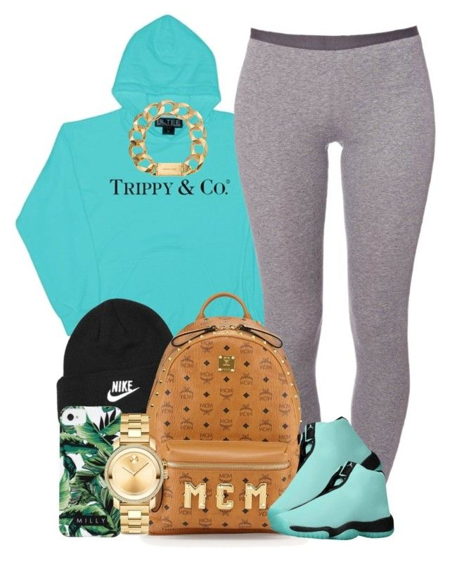 """Tiffany Blue."" by livelifefreelyy ❤ liked on Polyvore featuring NIKE, Schiesser, MCM, Michael Kors, Milly and Movado"