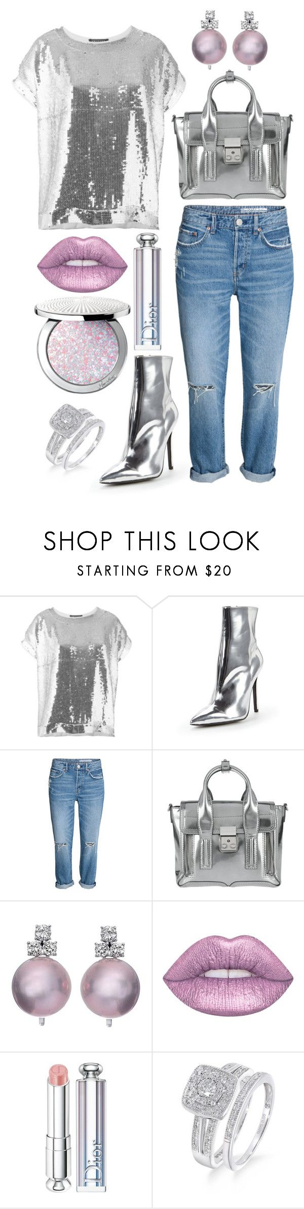 """""""Full metallic look"""" by theodor44444 ❤ liked on Polyvore featuring Twin-Set, Carvela, 3.1 Phillip Lim, Lime Crime, Christian Dior, Guerlain, Silver, Boots, metallic and Sequins"""