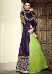 Gorgeous Nargis Fakhri Navy Color Opulent Anarkali Suit With Beautiful Embroidery Work