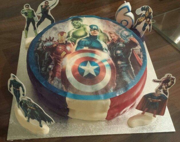 My son's home made Marvel Birthday Cake