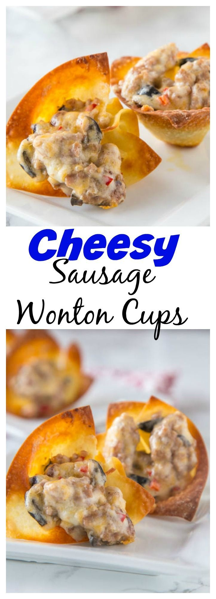 Cheesy Sausage Wonton Cups – Baked crispy wonton cups filled with a cheesy sausage mixture and baked until bubbly and hot.  Great for any party, get together, or just because!