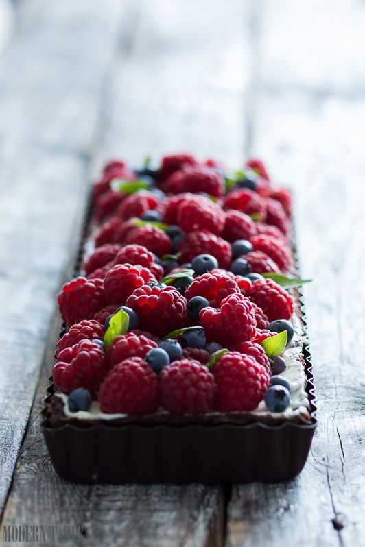... basil tart with fresh fruits ...