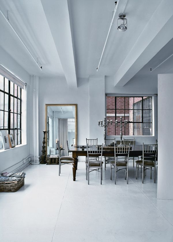 Amsale Aberra's Loft in New York #design #interior #architecture #loft #house #home #apartment #contemporary #modern #white #new york #missdesign: Amsal Aberra, Dining Rooms, New York Cities, Interiors Architecture, Wall Mirror, Design Interiors, White Rooms, Aberra Loft, Dining Tables