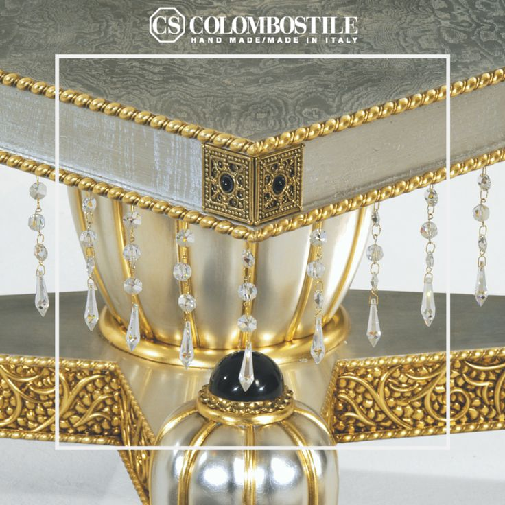 Art. 1700TAK Collezione: Transculture Design: Hierro Desvilles Table Wooden structure.  Finish: silver leaf applied on open pore briar, distempered lacquer and gold leaf.  Bronze decorative elements and synthetic hard stones. With Strass®Swarovski®Crystal.