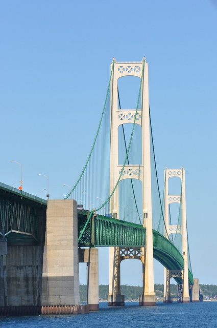 Mackinac Bridge is the largest suspension bridge in the western hemisphere and the third longest in the world at approximately 5 miles.  It connects the upper and lower peninsulas of Michigan.