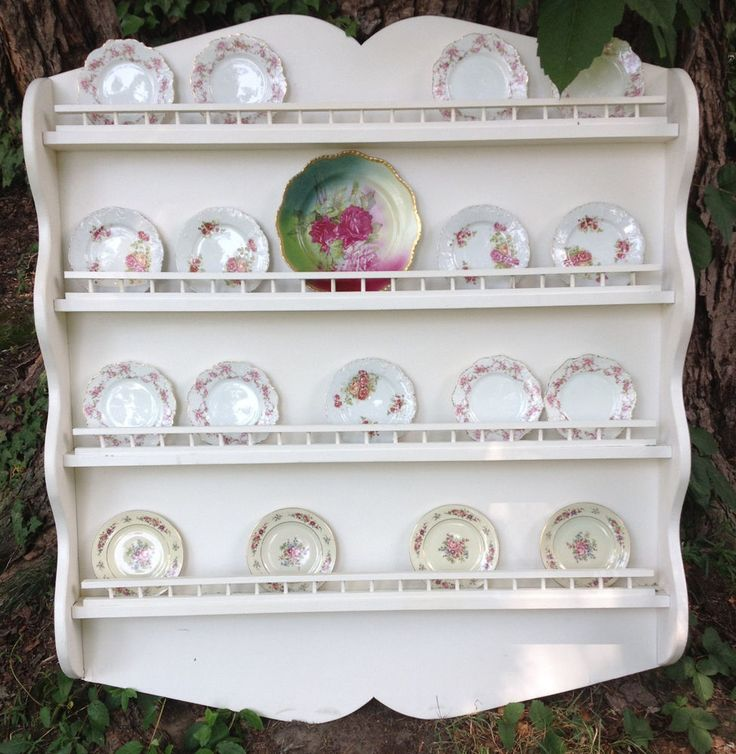 Vintage Shabby Cottage Wood Hanging Plate Display Wall