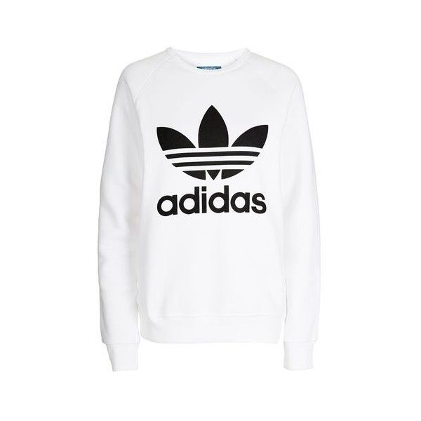 Trefoil Sweatshirt by Adidas Originals ($59) ❤ liked on Polyvore featuring tops, hoodies, sweatshirts, white, topshop tops, relaxed fit tops, sports sweatshirts, white cotton tops and white top