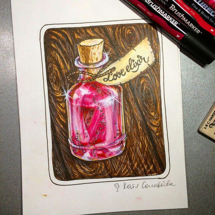 И снова спиртовые маркеры. 🖌Немного про любовь ❤️. Немного дерева 🎨. Чуть-чуть волшебства 🦄. Та-дам! Встречайте мой новый скетч! #sketch #sketchbook #sketching #alexandradikaia_ldc #спиртовыемаркеры #loveelixir #зельеварение