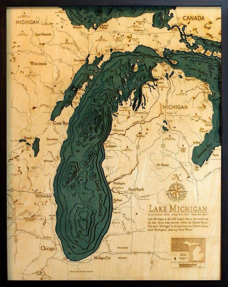 Lake Michigan Wood Chart Large 11