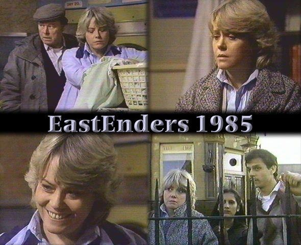 EastEnders, 1985. Wendy Richard as Pauline Fowler, Bill Treacher as Arthur Fowler, Andrew Johnson as Saeed Jefferey and Shreela Ghosh as Naima Jefferey.