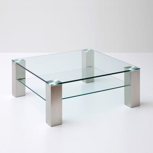 Details Zu Couchtisch Asta Beistelltisch Wohnzimmertisch Tisch Klarglas Metall 90x90 Cm