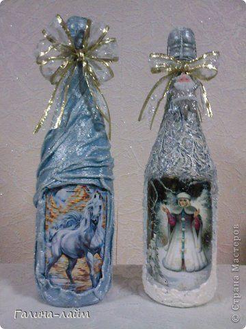 Декор предметов Новый год Декупаж Мои бутылочки  Бутылки стеклянные Краска фото 1