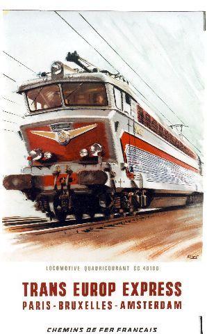 Brenet - Trans Europ Express - 1965 vintage train poster