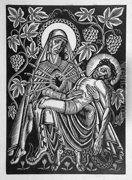 """Władysław Skoczylas, """"Pieta"""", drzeworyt"""