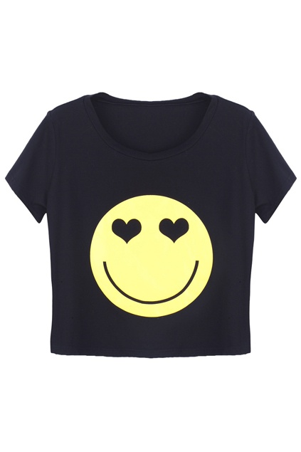Big Smiley Face Black T-shirt. Description Black T-shirt, featuring round neck, short sleeves styling, yellow smiley face on the front with twin heart-shaped eyes, in regular fit. Fabric Viscose and Cotton. Washing Dry clean. #Romwe