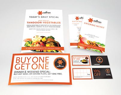 """Check out new work on my @Behance portfolio: """"Saffron Indian Restaurant Branded Collateral"""" http://on.be.net/1Mn6wsY"""