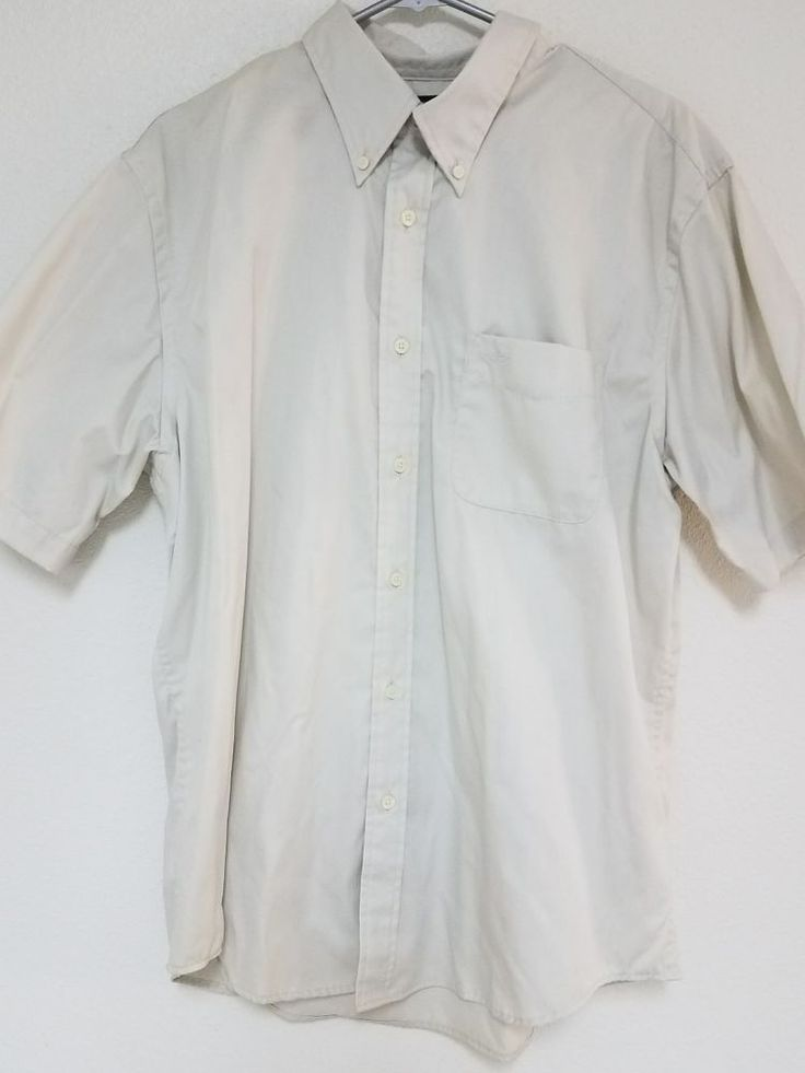 Dockers Mens Short Sleeve Shirt L Large 16-16 1/2 Tan Button Down Stain-Defender #DOCKERS #ButtonFront