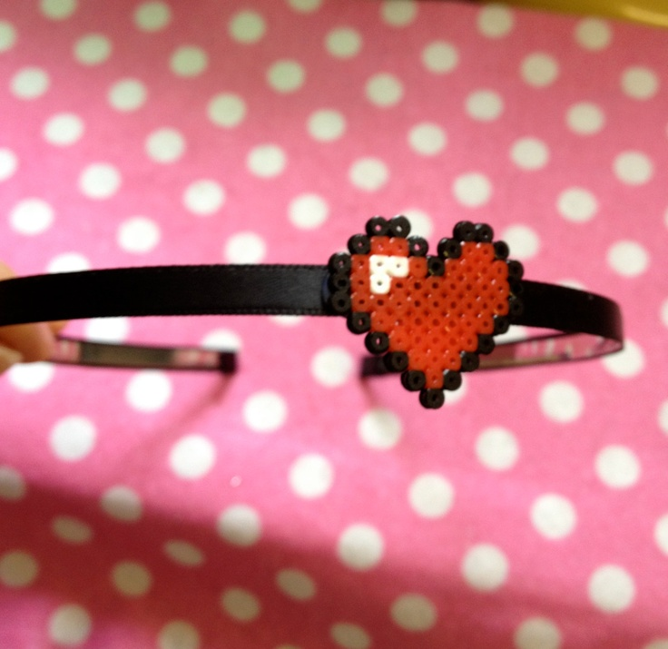 Ribbon Covered Mini Hama Bead Love Heart 8 Bit Pixel Geek Headband. $12.70, via Etsy.