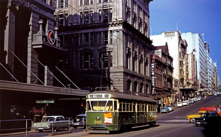 View up Bourke ST from what is now Bourke ST mall cnr Queen st. Melbourne Vic Australia