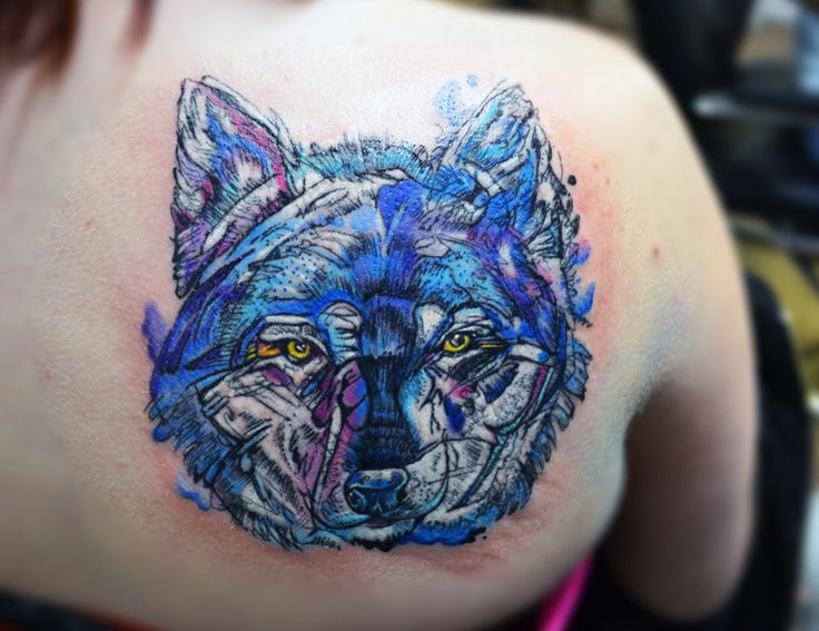 watercolour tattoo of wolf drawing by Abby Diamond by lolirotart